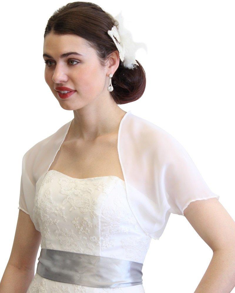 Tion Bridal White Chiffon Bolero With Short Sleeve