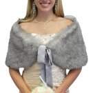 Grey Chinchilla faux fox shawl, faux fur stole, faux fur shrug size XS - L