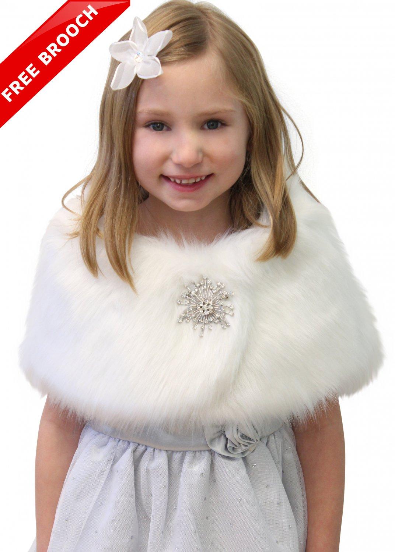 Faux Fur Wrap, bridal wrap, bridal fur shawl, bridal shrug for FLOWER GIRLS White FREE BROOCH
