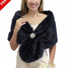 Bridal fur stole, Navy Blue Bridal Wrap Faux Fur Wrap on Sale