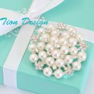 Bridal Ivory Faux Pearl Brooch FREE US SHIPPING