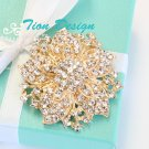 Gold Bridal Brooch, Vintage Crystal Brooch #3110 G FREE US shipping