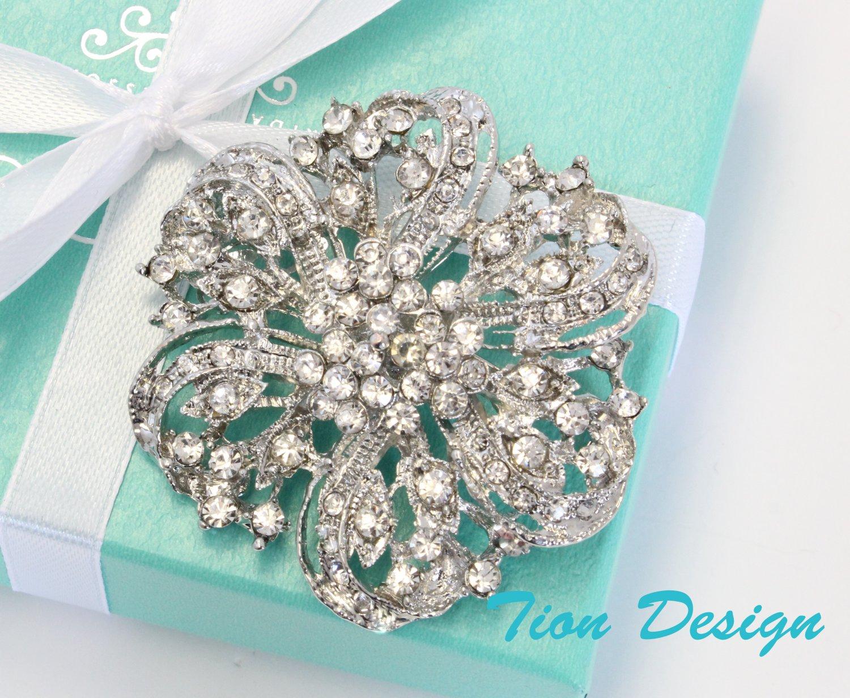 Wedding Brooch, Bridal Wedding Austrian Hair Pin #3065