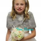 Tion Bridal Faux Fur Wrap Fox for FLOWER GIRLS Grey Chinchilla