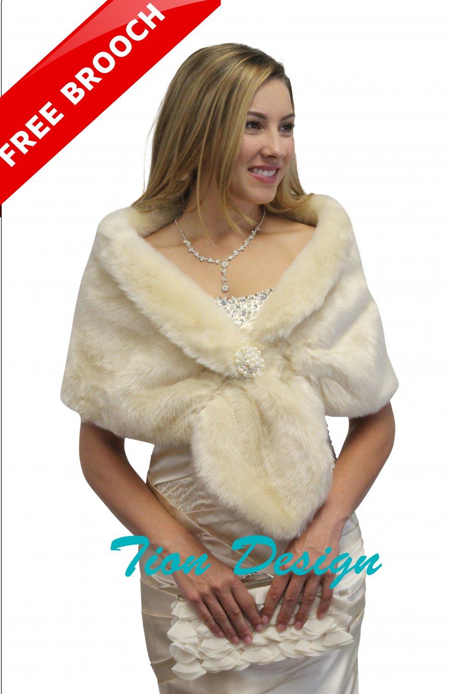 Faux fur wrap, Bridal fur stole champagne