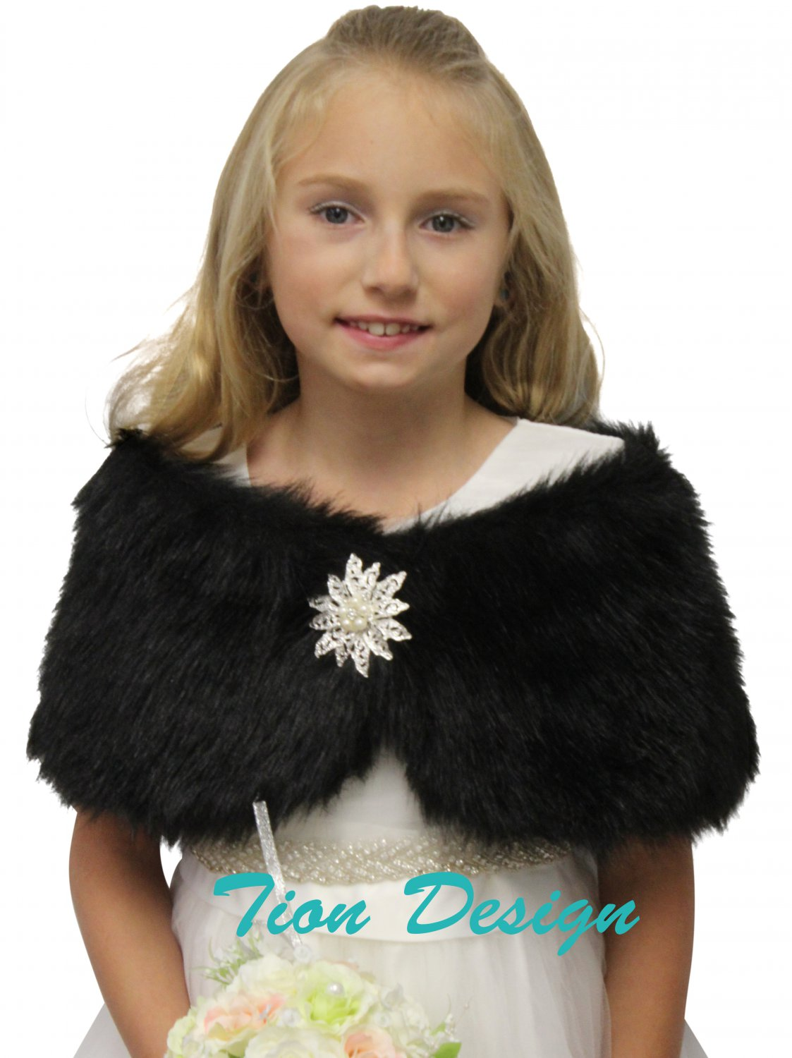 Tion Bridal Faux Fur Wrap Fox for FLOWER GIRLS Black
