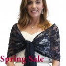 Tion Bridal Navy Blue Lace Bridal Shawl Wedding Wrap Prom Scarf