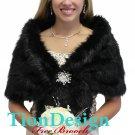 Black fur stole, vintage black fur shawl 800NF-BLK