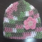 Hand Crocheted Newborn Pink Camo Hat w/ Flower