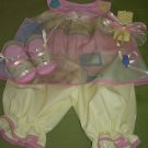 GIRLS 4 PC DRESS PANTALOON HEADBAND AND SHOES SET SIZE 6-9M