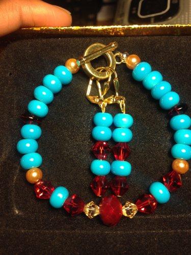 Ruby Birthstone Bracelet/Earrings Set