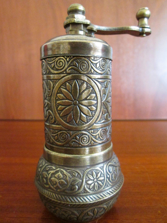 Turkish Salt Pepper Mill Spice Grinder Dark Gold Color