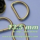 100 Unwelded D rings - 13.5 mm Gold Plated