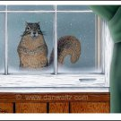Squirrel in window print