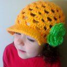 ALL Sizes Crochet newsboy hat, Crochet hat with Brim, Crochet Brimmed Hat with Flower