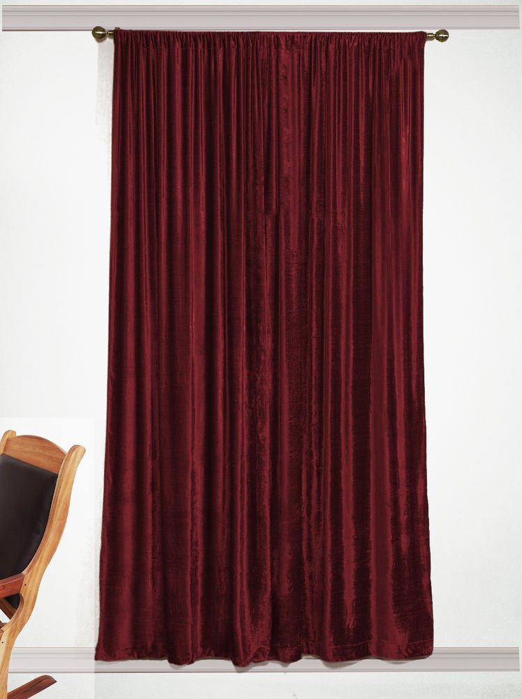 """Vintage 100% Cotton Velvet 50""""W by 84""""L Thick Blackout Home Theatre Velvet  Curtain - Cemelia"""