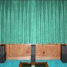 VINTAGE 100% COTTON VELVET BLACKOUT STAGE/THEATRE/STUDIO CURTAIN-AQUA 7FT W X 9FT H