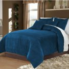 Full/Queen 100% Velvet-Egytian Cotton Reversible  TEAL  Duvet Quilt Cover Set 3pc
