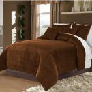 Full/Queen 100% Velvet-Egytian Cotton Reversible  CHOCO  Duvet Quilt Cover Set 3pc