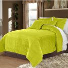 Full/Queen 100% Velvet-Egytian Cotton Reversible LEMON GRASS  Duvet Quilt Cover Set 3pc