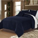 Full/Queen 100% Velvet-Egytian Cotton Reversible NAVY BLUE  Duvet Quilt Cover Set 3pc
