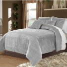 Full/Queen 100% Velvet-Egytian Cotton Reversible SILVER  Duvet Quilt Cover Set 3pc