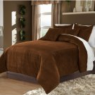 Choco King/Cal King 100% Velvet & Cotton Reversible Duvet Quilt Cover Set 3pcs