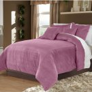 Lavender King/Cal King 100% Velvet & Cotton Reversible Duvet Quilt Cover Set 3pcs