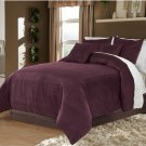 Plum King/Cal King 100% Velvet & Cotton Reversible Duvet Quilt Cover Set 3pcs