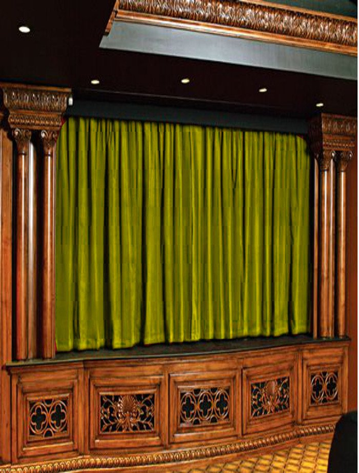 Vintage Style Pole Pocket Lemon Grass 100% cotton Velvet curtain Theater/Stage Panel - 12Wx9H FT