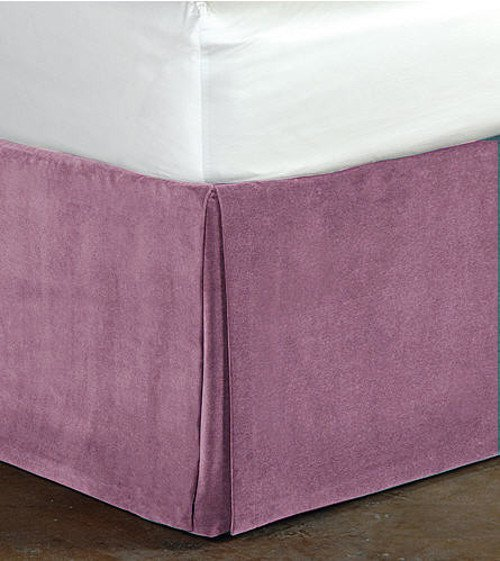 "New Queen Size 15""Drop 100% Cotton Velvet Bedskirt/Valance Box Pleated - Lavender"