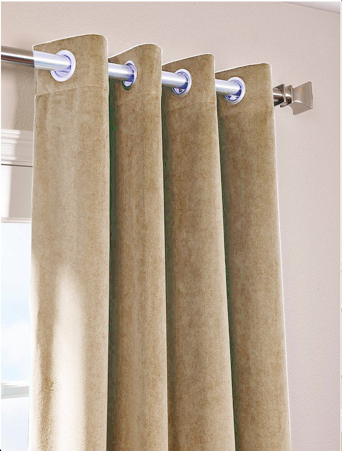 """MOCHA - Vintage Blackout 100% Cotton Velvet Lined Curtain Long Door Panel-50""""W X 132""""L"""