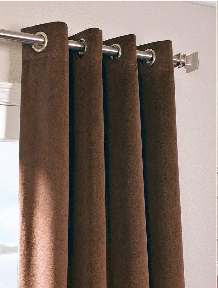 """CHOCO - Vintage Blackout 100% Cotton Velvet Lined Curtain Long Door Panel-50""""W X 144""""L"""
