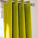 "LEMON GRASS - Vintage Blackout 100% Cotton Velvet Lined Curtain Long Door Panel-50""W X 144""L"