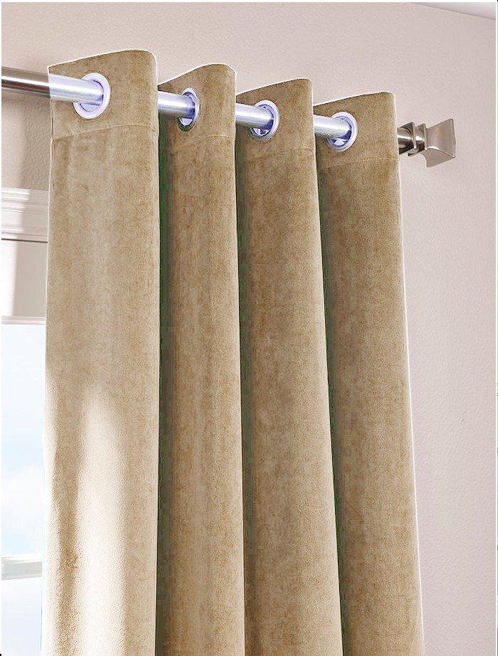 """MOCHA - Vintage Blackout 100% Cotton Velvet Lined Curtain Long Door Panel-50""""W X 144""""L"""
