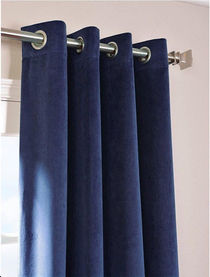 """NAVY BLUE - Vintage Blackout 100% Cotton Velvet Lined Curtain Long Door Panel-50""""W X 144""""L"""
