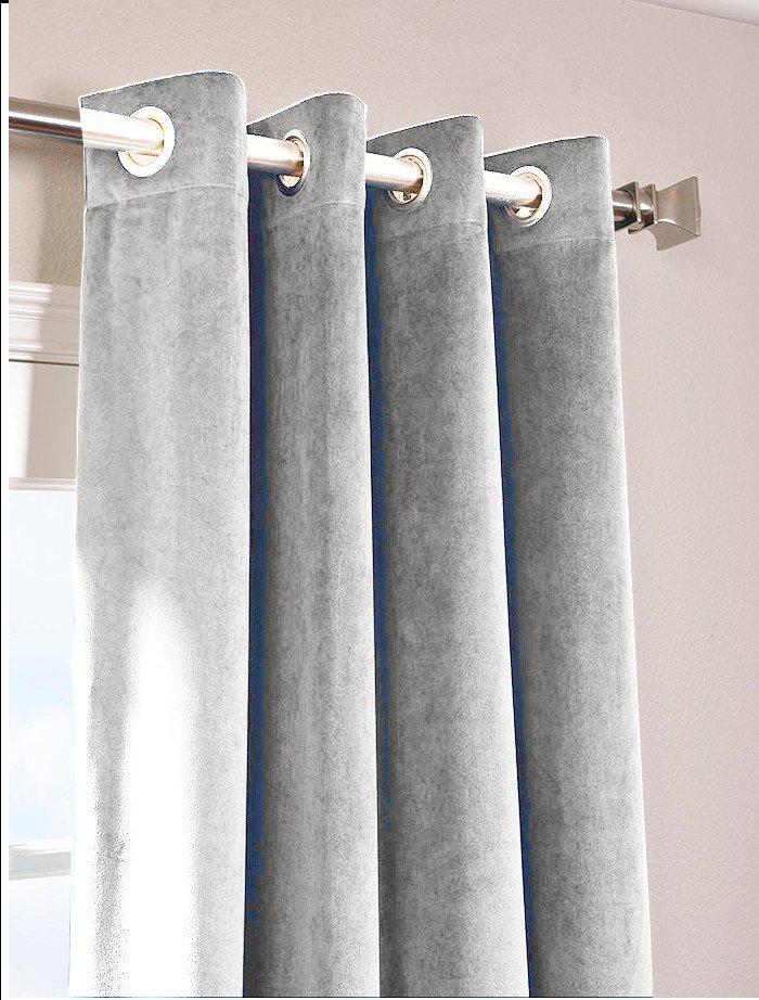 """SILVER - Vintage Blackout 100% Cotton Velvet Lined Curtain Long Door Panel-50""""W X 144""""L"""