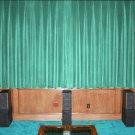 VINTAGE COTTON VELVET BLACKOUT WINDOW/DOOR LINED CURTAIN- AQUA 66''W X 54''H