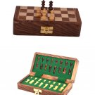 Handmade Classic 7 by 7 inches Wooden Folding Chess Board With Wooden Magnetic Pieces Travel game