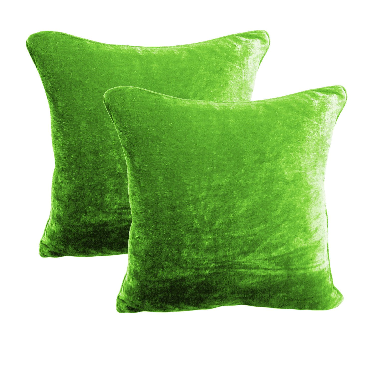 18 by 18 INCHES - 100% COTTON VELVET 6PC ZIPPER PILLOW COVER SHAMS EURO SAGE GREEN