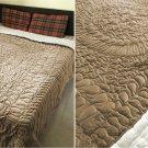 New King/Cal King Size Royal 100% Cotton Velvet Quilt Abstarct Design - Mocha