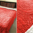 New King/Cal King Size Royal 100% Cotton Velvet Quilt Abstarct Design - Ruby Red