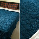 New King/Cal King Size Royal 100% Cotton Velvet Quilt Abstarct Design - Teal