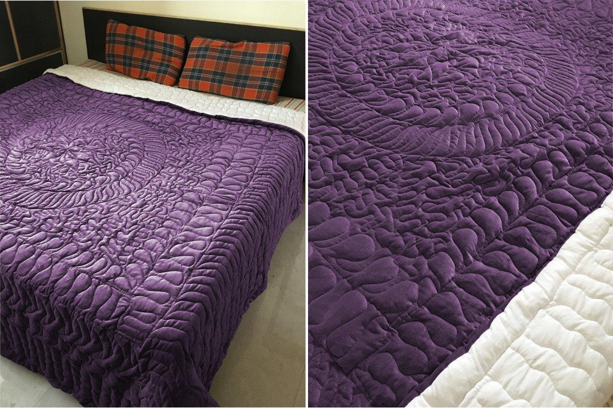 New Full/Queen Size Royal 100% Cotton Velvet Quilt Abstarct Design - Berry