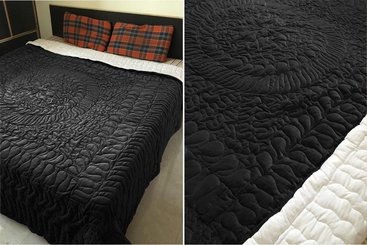 New Full/Queen Size Royal 100% Cotton Velvet Quilt Abstarct Design - Black
