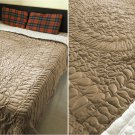 New Full/Queen Size Royal 100% Cotton Velvet Quilt Abstarct Design - Mocha
