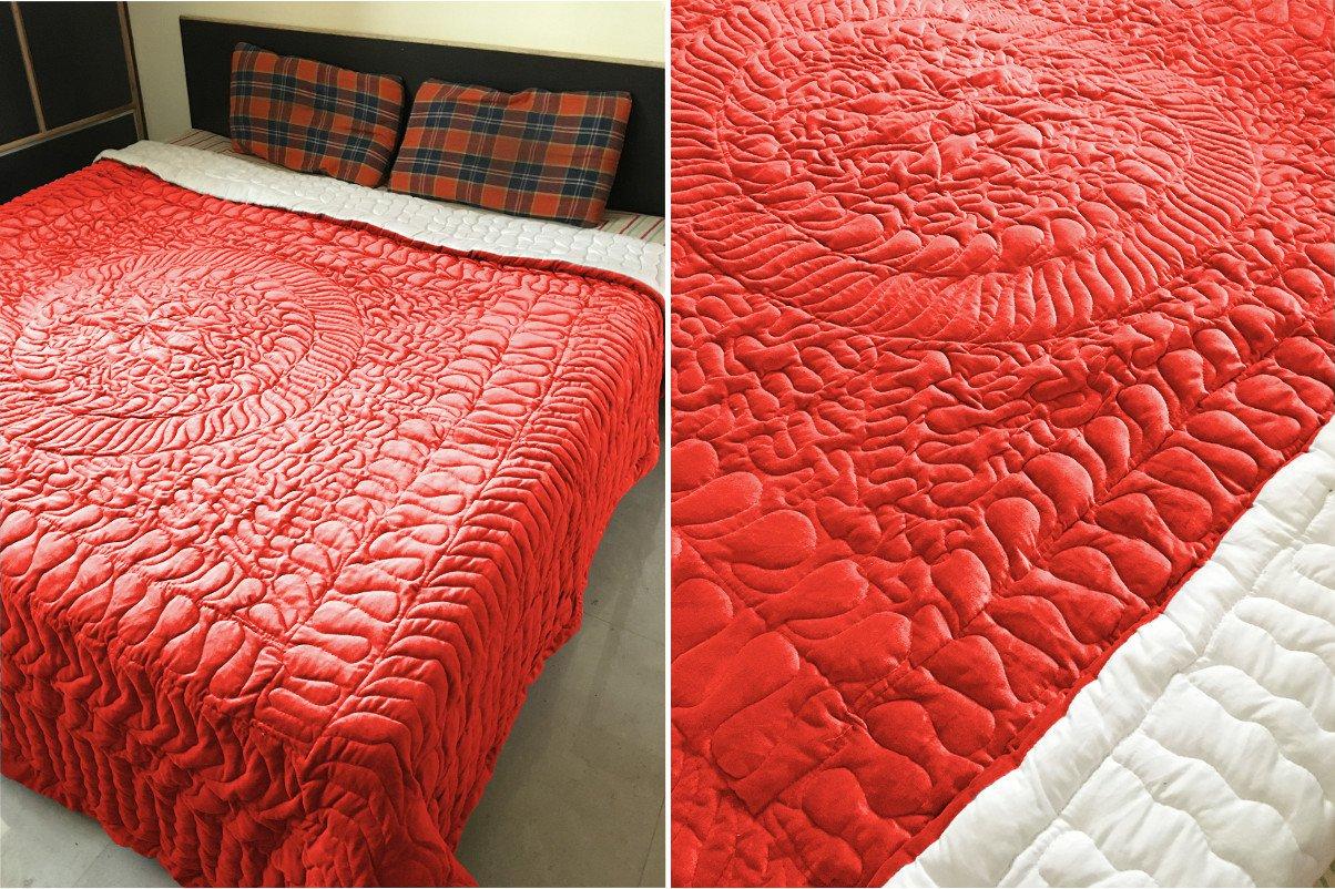 New Full/Queen Size Royal 100% Cotton Velvet Quilt Abstarct Design - Ruby Red