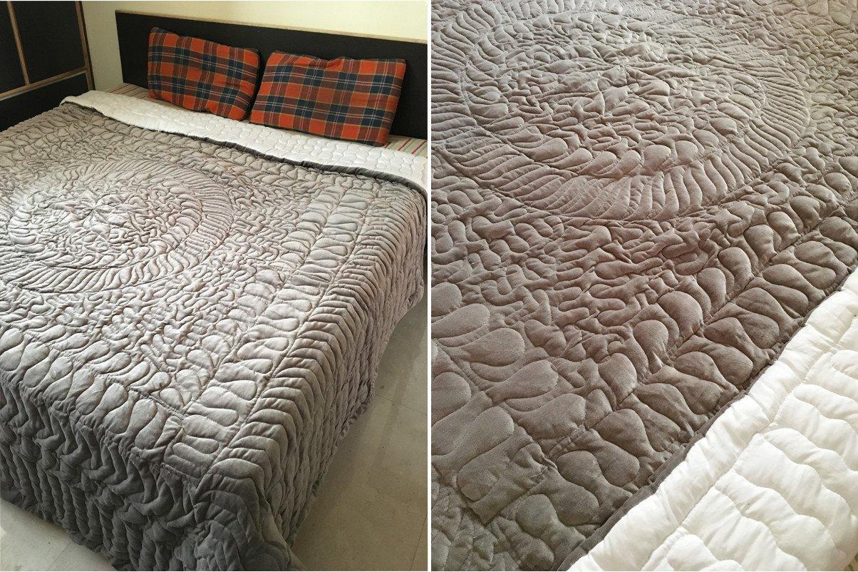 New Full/Queen Size Royal 100% Cotton Velvet Quilt Abstarct Design - Silver