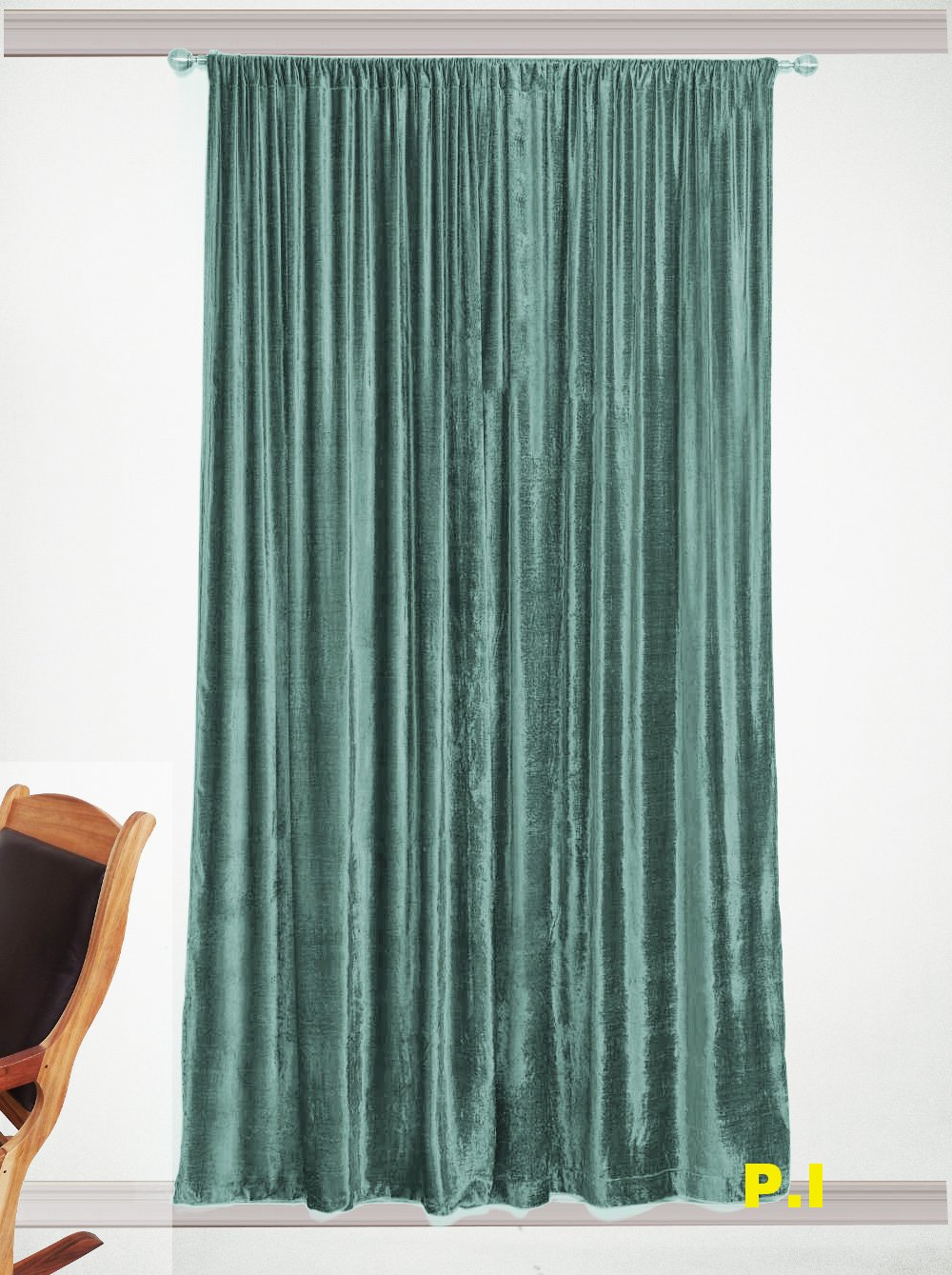 "New Blackout 100% Cotton Velvet Curtain Single Lined Panel 54""W by 108""H - Aqua"