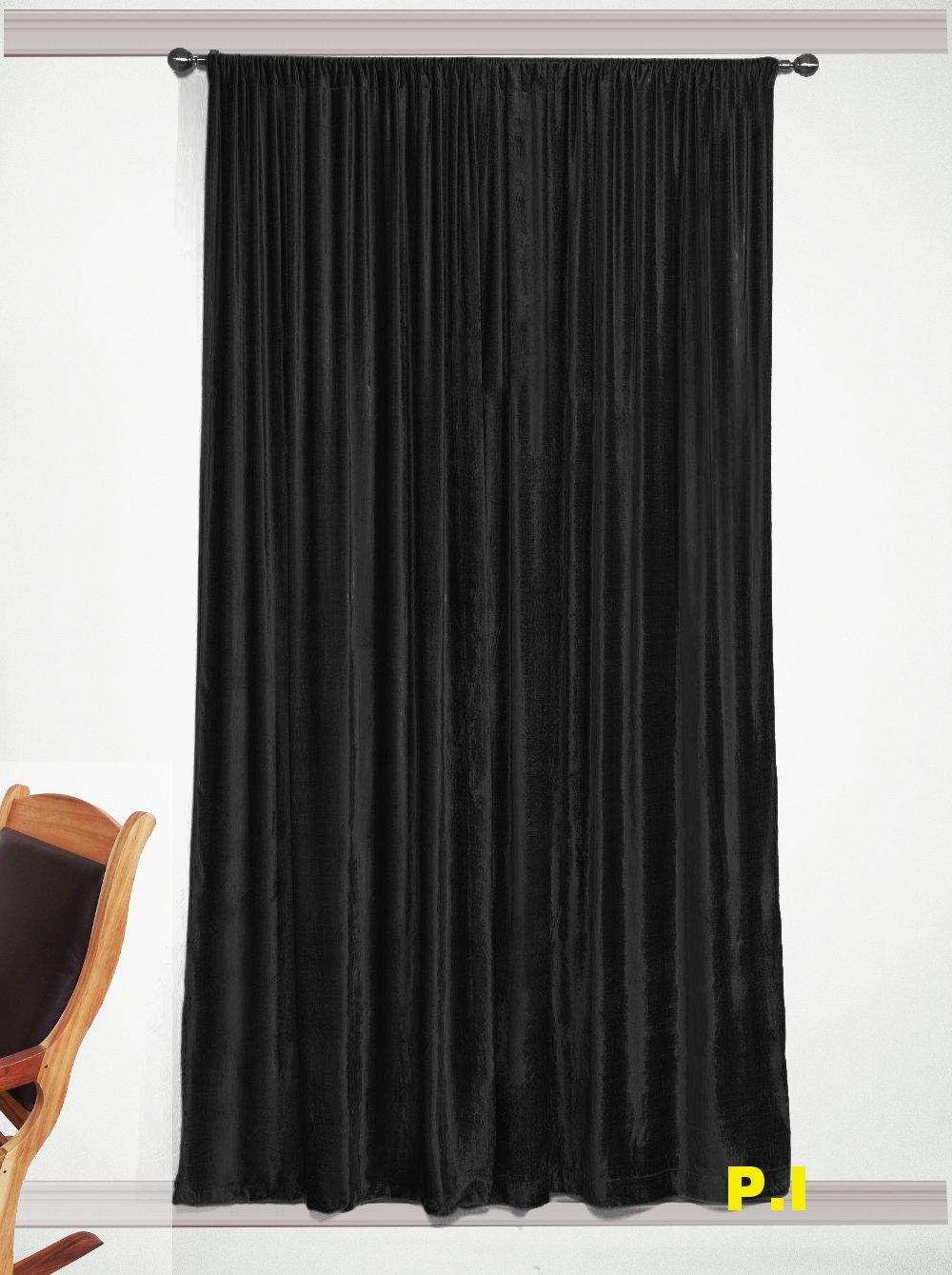"""New Blackout 100% Cotton Velvet Curtain Single Lined Panel 54""""W by 108""""H - Black"""